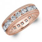 DIAMOND ETERNITY BAND WEDDING RING ROUND 14KT ROSE GOLD 3.00 CARAT MILGRAIN