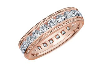 DIAMOND ETERNITY BAND WEDDING RING ROUND 14KT ROSE GOLD 2.00 CARAT MILGRAIN