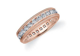 DIAMOND ETERNITY BAND WEDDING RING ROUND 14KT ROSE GOLD 1.50 CARAT MILGRAIN