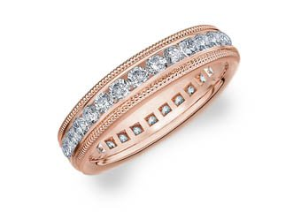 DIAMOND ETERNITY BAND WEDDING RING ROUND 14KT ROSE GOLD 1.00 CARAT MILGRAIN