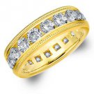 DIAMOND ETERNITY BAND WEDDING RING ROUND 14KT YELLOW GOLD 4.00 CARAT MILGRAIN