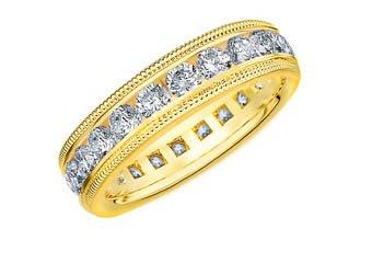 DIAMOND ETERNITY BAND WEDDING RING ROUND 14KT YELLOW GOLD 2.00 CARAT MILGRAIN