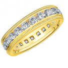 DIAMOND ETERNITY BAND WEDDING RING ROUND 14KT YELLOW GOLD 2.00 CARAT MILGRAIN