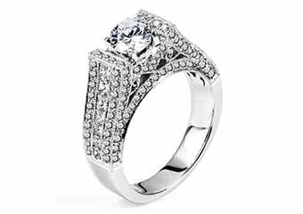 WOMENS DIAMOND ENGAGEMENT RING ROUND CUT 2.35 CARAT 14K WHITE GOLD