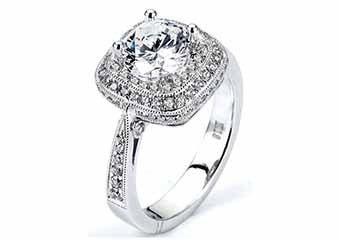 WOMENS DIAMOND ENGAGEMENT HALO RING ROUND CUT 1.56 CARAT 18K WHITE GOLD