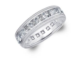 DIAMOND ETERNITY BAND WEDDING RING ROUND 14KT WHITE GOLD 3.00 CARAT MILGRAIN