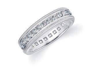 DIAMOND ETERNITY BAND WEDDING RING ROUND 14KT WHITE GOLD 1.50 CARAT MILGRAIN