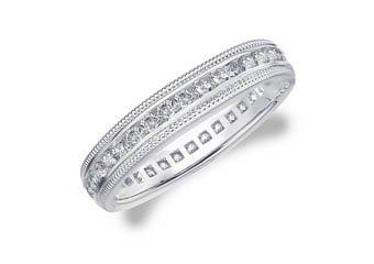 DIAMOND ETERNITY BAND WEDDING RING ROUND 14KT WHITE GOLD .50 CARAT MILGRAIN