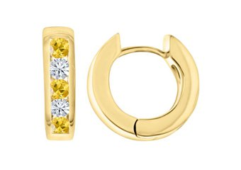 YELLOW SAPPHIRE & DIAMOND HOOP EARRINGS BRILLIANT ROUND CUT 14KT YELLOW GOLD