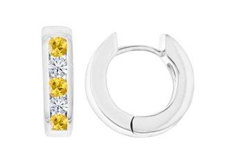 YELLOW SAPPHIRE & DIAMOND HOOP EARRINGS BRILLIANT ROUND CUT 14KT WHITE GOLD