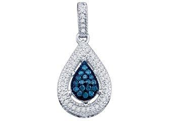 .21 Carat Blue Diamond Pendant Tear Brilliant Round Cut Micro Pave White Gold