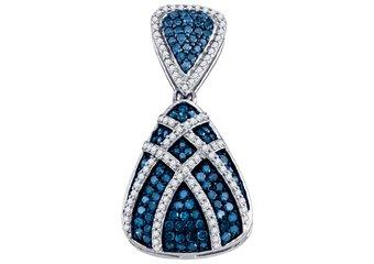 .95 Carat Blue Diamond Pendant Brilliant Round Cut Micro Pave White Gold