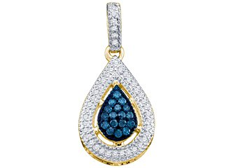 .21 Carat Blue Diamond Pendant Tear Brilliant Round Cut Micro Pave Yellow Gold