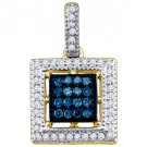 .21 Carat Blue Diamond Pendant Square Brilliant Round Cut Micro Pave Yellow Gold