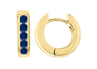 BLUE SAPPHIRE HOOP EARRINGS BRILLIANT ROUND CUT 14KT YELLOW GOLD