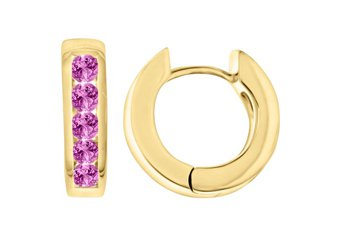 PINK SAPPHIRE HOOP EARRINGS BRILLIANT ROUND CUT 14KT YELLOW GOLD