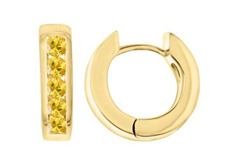 YELLOW SAPPHIRE HOOP EARRINGS BRILLIANT ROUND CUT 14KT YELLOW GOLD