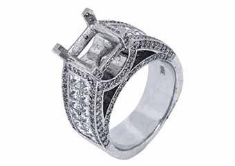 3.28 CARAT WOMENS DIAMOND ENGAGEMENT RING SEMI-MOUNT PRINCESS CUT WHITE GOLD