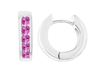 PINK SAPPHIRE HOOP EARRINGS BRILLIANT ROUND CUT 14KT WHITE GOLD