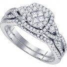 WOMENS DIAMOND HALO ENGAGEMENT RING WEDDING BAND BRIDAL SET BRILLIANT ROUND CUT