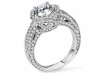 WOMENS DIAMOND ENGAGEMENT HALO RING ROUND CUT 2.25 CARAT 14K WHITE GOLD