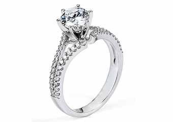 WOMENS DIAMOND ENGAGEMENT RING ROUND CUT 1.34 CARAT 14K WHITE GOLD