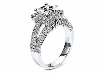 WOMENS DIAMOND ENGAGEMENT HALO RING PRINCESS CUT 1.72 CARAT 18K WHITE GOLD