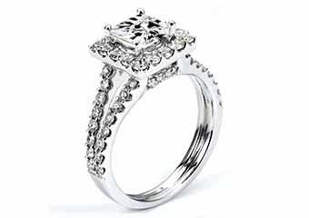 WOMENS DIAMOND ENGAGEMENT HALO RING PRINCESS CUT 2 CARAT 14K WHITE GOLD
