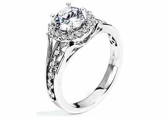 WOMENS DIAMOND ENGAGEMENT HALO RING ROUND CUT 1.45 CARAT 14K WHITE GOLD