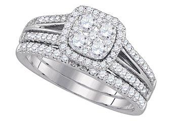 WOMENS DIAMOND ENGAGEMENT HALO RING WEDDING BAND BRIDAL SET CUSHION SHAPE
