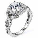 WOMENS DIAMOND ENGAGEMENT HALO RING ROUND CUT 1.92 CARAT 14K WHITE GOLD