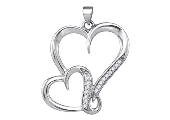 1/10 Carat Diamond Heart Shape Pendant Brilliant Round Diamonds Sterling Silver