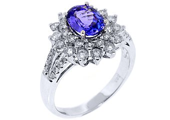 WOMENS TANZANITE DIAMOND ENGAGEMENT WEDDING RING OVAL SHAPE 2.54 CARATS
