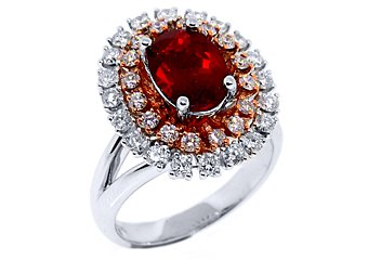 WOMENS RED RUBY DIAMOND ENGAGEMENT WEDDING RING OVAL SHAPE 2.78 CARATS