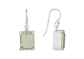 13.5 CARAT GREEN AMETHYST DANGLE EARRINGS EMERALD CUT 925 STERLING SILVER