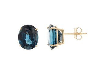 6.4 CARAT LONDON BLUE TOPAZ STUD EARRINGS EAR RINGS OVAL SHAPE 14KT YELLOW GOLD