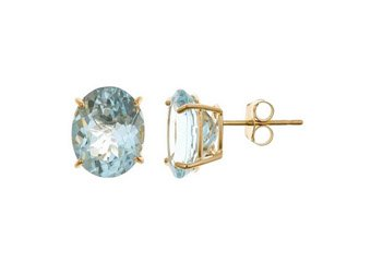 4.5 CARAT AQUAMARINE STUD EARRINGS OVAL SHAPE 14K YELLOW GOLD MARCH BIRTH STONE