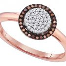 WOMENS RED ROUND DIAMOND HALO ENGAGEMENT PROMISE RING ROSE GOLD