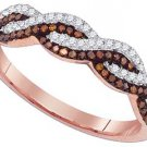WOMENS .25 CARAT RED DIAMOND RING WEDDING BAND ROSE GOLD