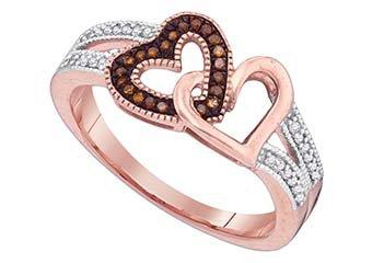 WOMENS .15 CARAT HEART SHAPE RED DIAMOND ENGAGEMENT RING ROSE GOLD
