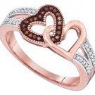 WOMENS .15 CARAT HEART SHAPE RED DIAMOND ENGAGEMENT RING ROSE GOLD