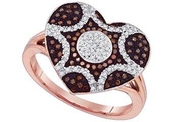 WOMENS .33 CARAT HEART SHAPE RED DIAMOND ENGAGEMENT RING ROSE GOLD