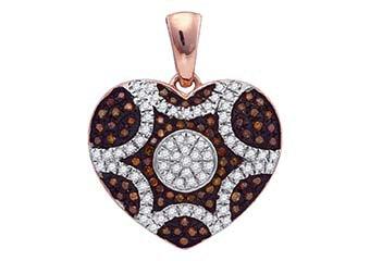 1/3 Carat Red & White Diamond Heart Pendant Round Cut Rose Gold