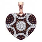 1/3 Carat Red & White Diamond Heart Pendant Round Cut Rose Gold