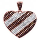 .31 Carat Red & White Diamond Heart Pendant Round Cut Rose Gold