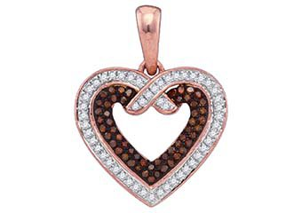 .25 Carat Red & White Diamond Heart Pendant Round Cut Rose Gold