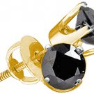 1/4 CARAT BRILLIANT ROUND BLACK DIAMOND STUD EARRINGS YELLOW GOLD