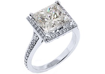 5 CARAT PRINCESS SQUARE HALO DIAMOND ENGAGEMENT ANNIVERSARY RING HIGH QUALITY