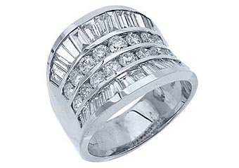 4.38CT WOMENS BRILLIANT ROUND BAGUETTE CUT DIAMOND RING WEDDING BAND WHITE GOLD