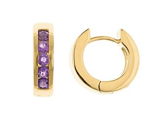 AMETHYST HOOP EARRINGS BRILLIANT ROUND CUT 14KT YELLOW GOLD